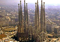 Aerial view of Sagrada Familia